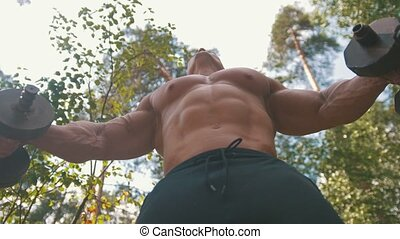 Muscular bodybuilder raising a heavy iron dumbbells - workout in forest
