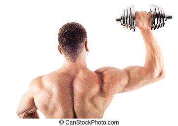 Muscular bodybuilder guy doing exercises with dumbbell over...