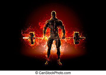 Muscular bodybuilder with barbell. Fire explode concept. 3d...