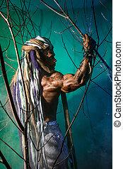 muscular, bosque, dreadlocks, hombre