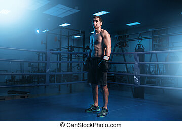 Muscular boxer in black gloves on the ring