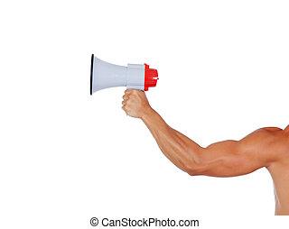 muscular, braço, com, um, megafone