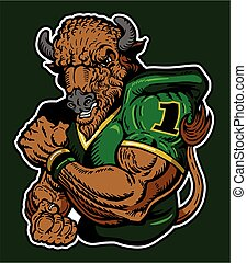 buffalo football - muscular buffalo football player mascot ...