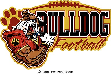 muscular bulldog football player design for school, college or league