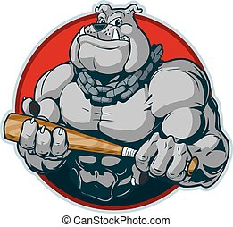 Muscular Bulldog with Bat Mascot - Vector cartoon clip art...