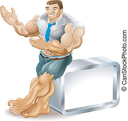 A very muscular business man bursting out of his clothes. He is smiling and presenting something to his right.