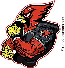 muscular cardinal football player mascot for school, college or league