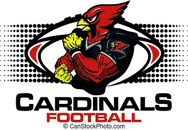 muscular cardinals football player team design for school, college or league