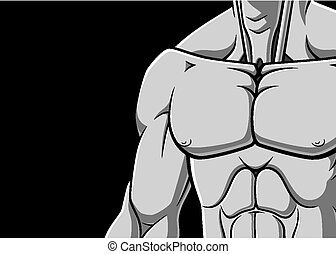 Muscular chest - Illustration of muscular male chest on...