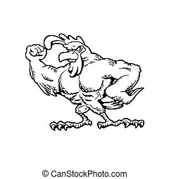 Muscular chickens . Animal cartoon character . Vector Illustration.
