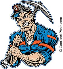 muscular coal miner with pick ax and stripes on his coveralls