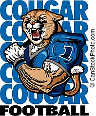 muscular cougar football player design with wording