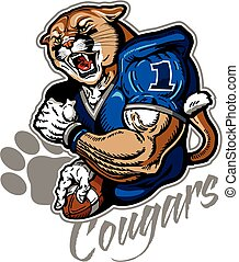 muscular cougar football player mascot for school, college or league