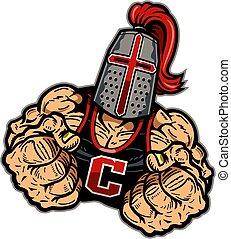crusader mascot - muscular crusader mascot with fists up for...