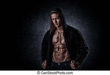 muscular, deportes, hombre, después, pesas, entrenamiento, encima, fondo negro