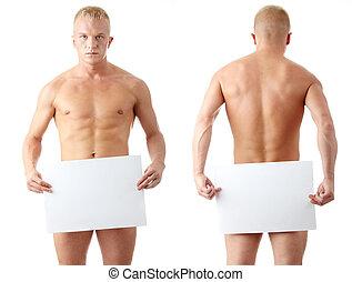 muscular, desnudo, hombre, cubierta, un, blanco, cartelera