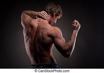 muscular, desnudo, hombre, de, espalda, en, negro