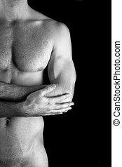 muscular, desnudo, hombre