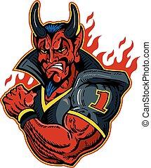 muscular devil football player wearing uniform in flames