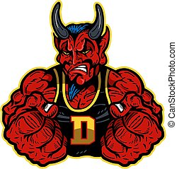 devil mascot - muscular devil mascot with fists up for...