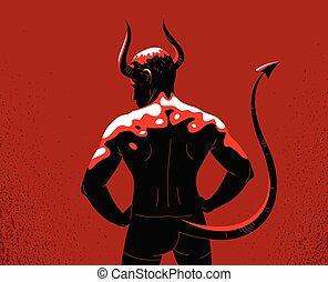 muscular, diablo, parte, vector, fuerte, interior, cuernos, mal, beast., humano, vista, naturaleza, fuerte, hombre, espalda, fuerte, demonio, animal, ilustración, cola