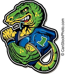 muscular dinosaur football player with tail