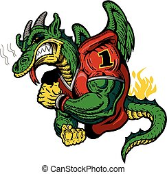 muscular dragon football player mascot for school, college or league