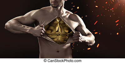 Muscular dummy made of gold