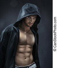muscular, e, bonito, atleta, fazer, músculos