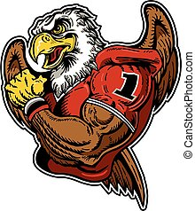 muscular eagle football player team design for school, college or league