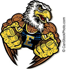 eagle mascot - muscular eagle mascot with fists up for...