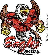 muscular eagles football player team design for school, college or league