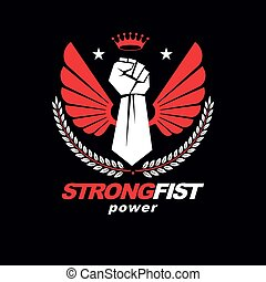 Muscular fist of a strong man vector illustration made with eagle wings, pentagonal star and laurel wreath. King of the boxing ring concept.