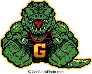 gator mascot - muscular gator mascot with fists up for...