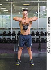 muscular, gimnasio, caldera, elevación, hombre, campana