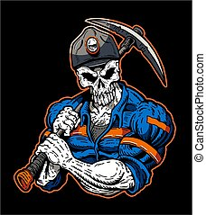 muscular grim reaper coal miner mascot for screen printing and stickers