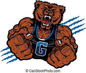 grizzly mascot - muscular grizzly mascot with fists up for...
