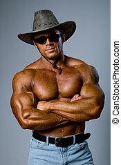 muscular, guapo, sombrero, hombre