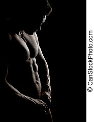 muscular guy - the very muscular handsome sexy guy on black...