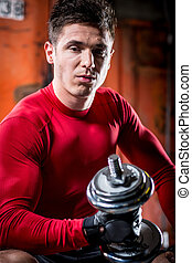 muscular, hombre, con, dumbbell