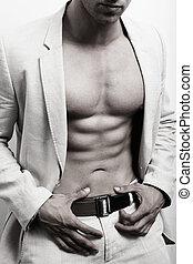 muscular, hombre, con, sexy, abs, y, traje