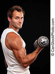 muscular, hombre, elevación, dumbbell