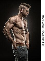 muscular, hombre, lado, plano de fondo, -, negro, vista