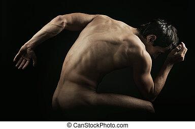 muscular, hombre, posar