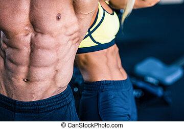 muscular, hombre, y, fuerte, mujer, torso