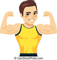 muscular, homem, bíceps