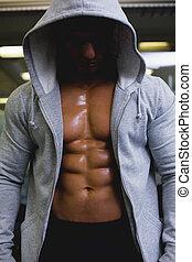 muscular, homem, casaco, jovem, capuz