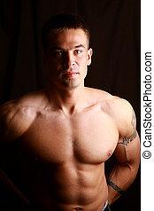 muscular, homem, com, forte, braços, e, agradável, abs