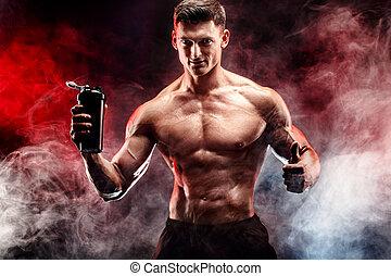 muscular, homem, com, proteína, bebida, em, shaker