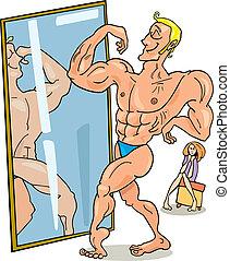 muscular, homem, e, a, espelho
